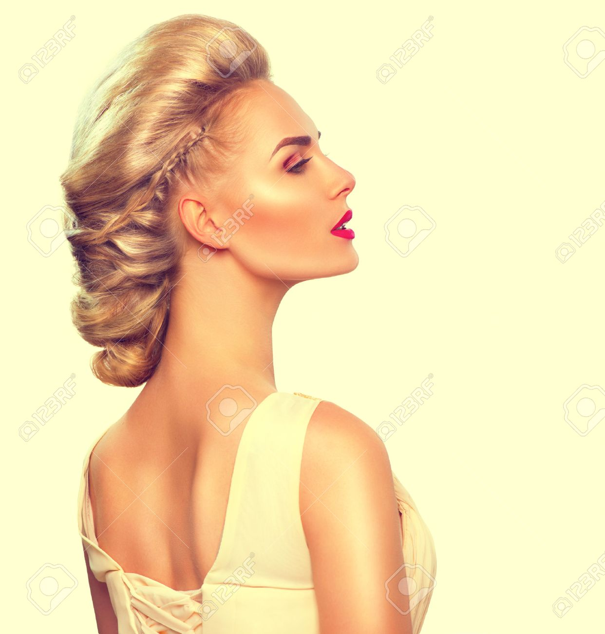 Fashion model girl portrait with updo hairstyle - 51892382