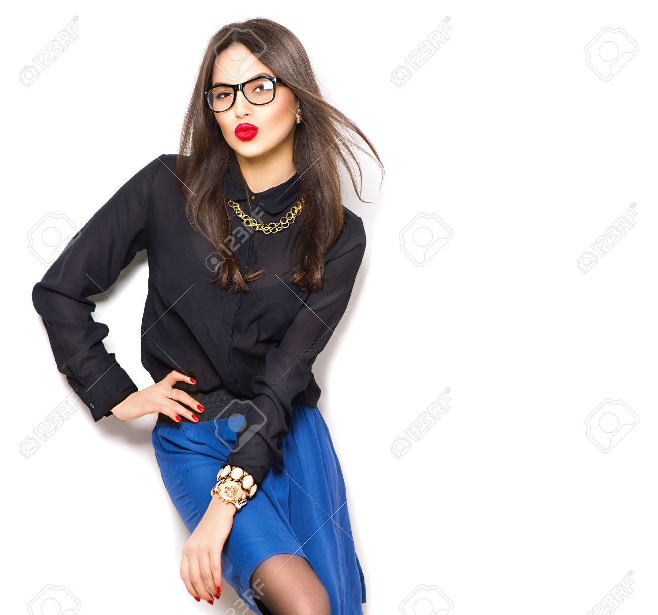 Beauty sexy fashion model girl wearing glasses, isolated on white background Stock Photo - 52316174