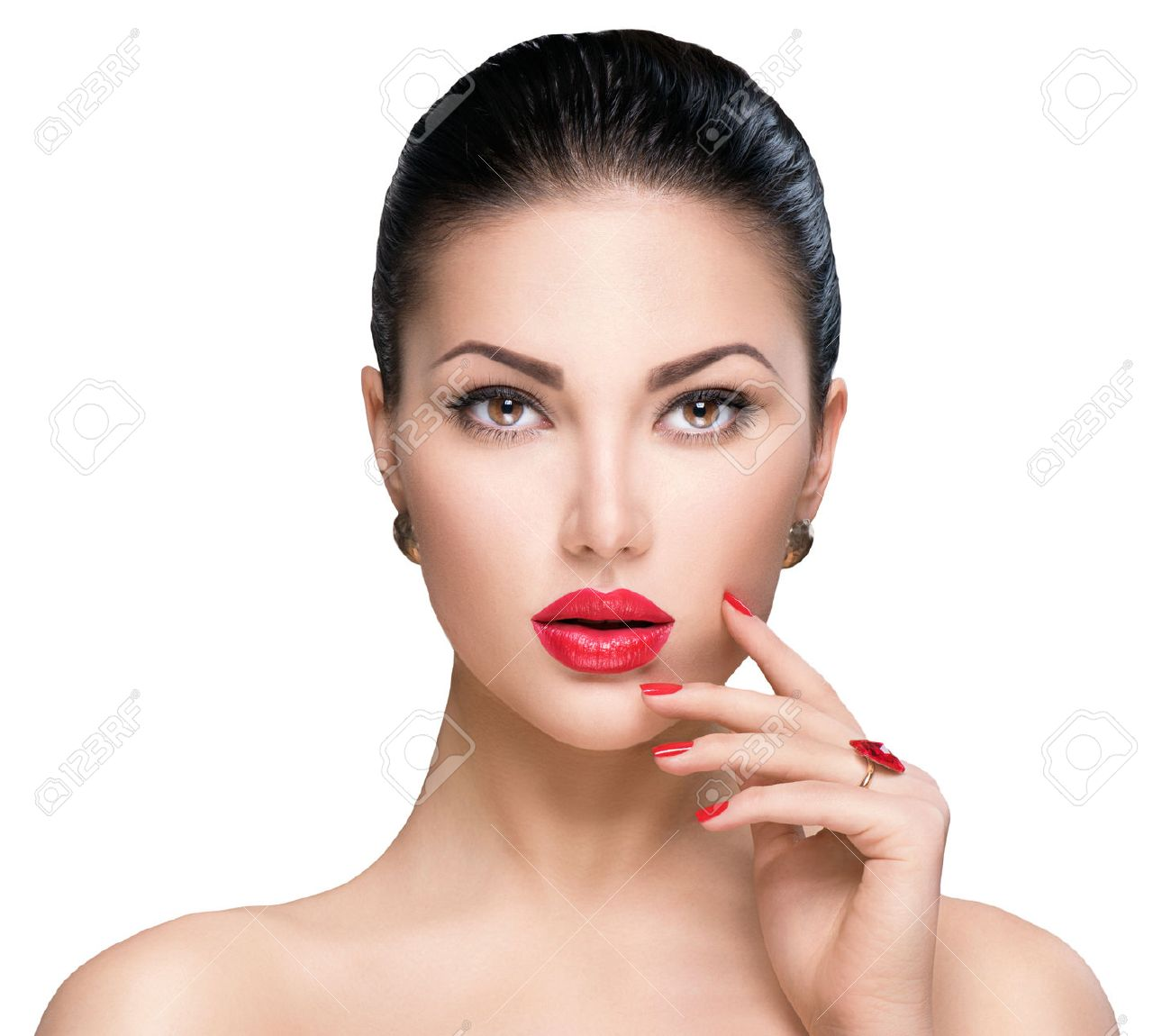 Beautiful woman with red lipstick and red nails - 52373107