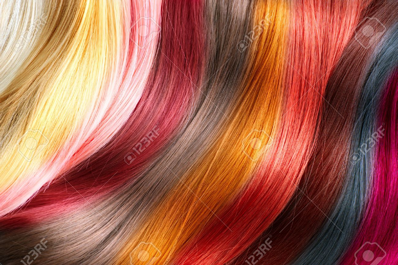 Hair colors palette. Dyed hair color samples - 52897947