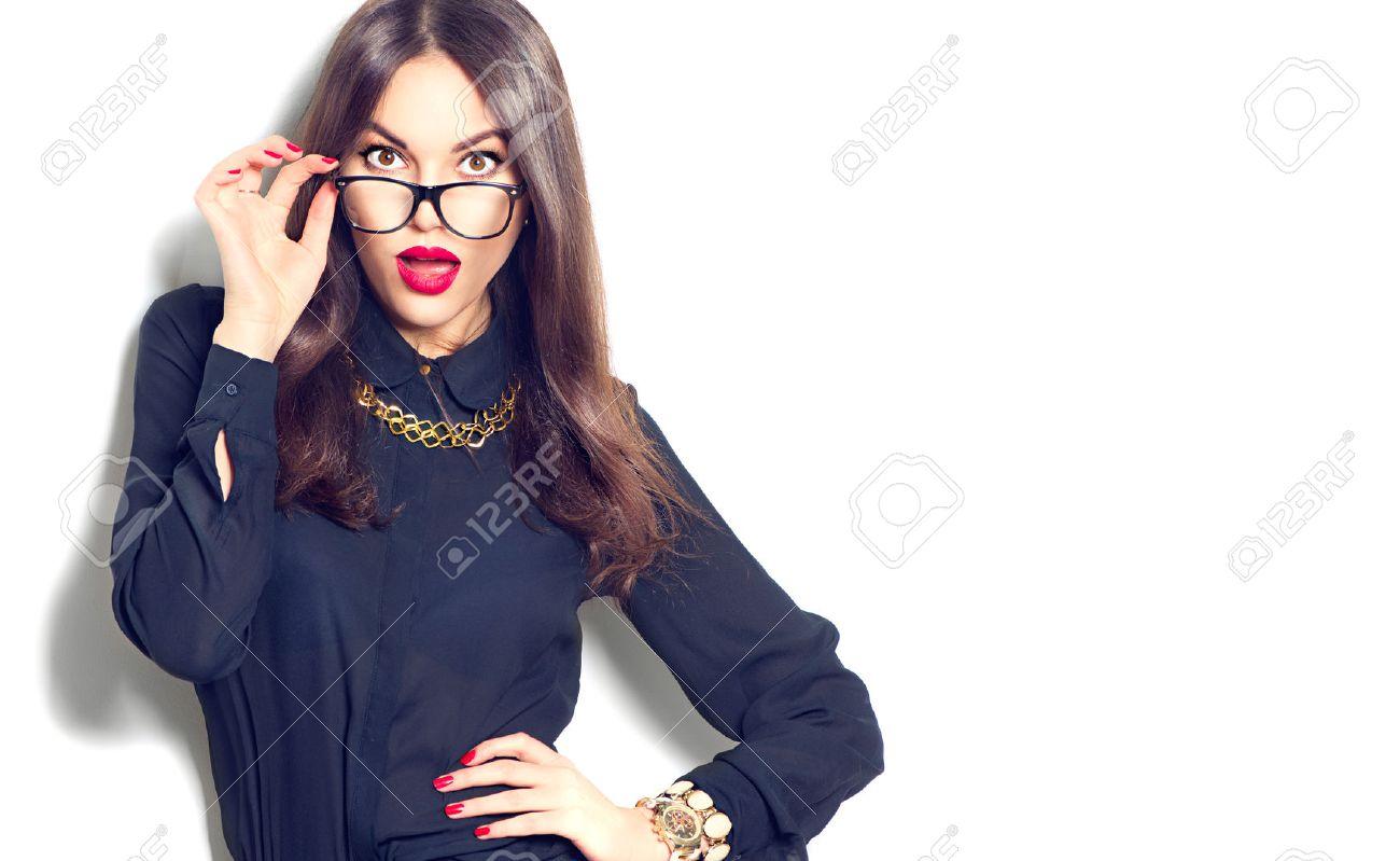 Beauty fashion model girl wearing glasses, isolated on white background - 54180809
