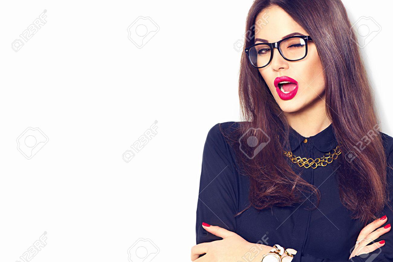 Beauty fashion model girl wearing glasses, isolated on white background - 54180826