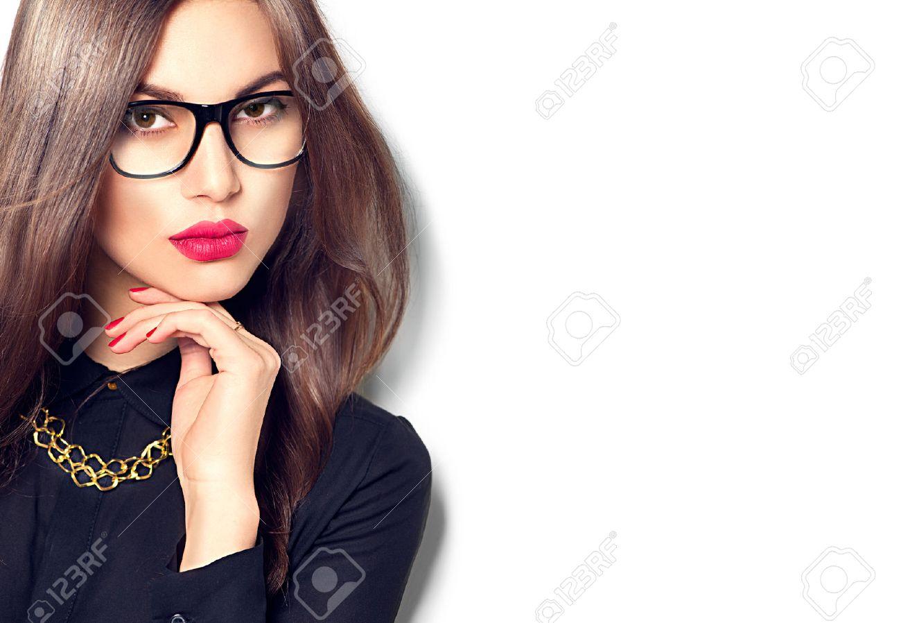 Beauty fashion model girl wearing glasses, isolated on white background - 54180825