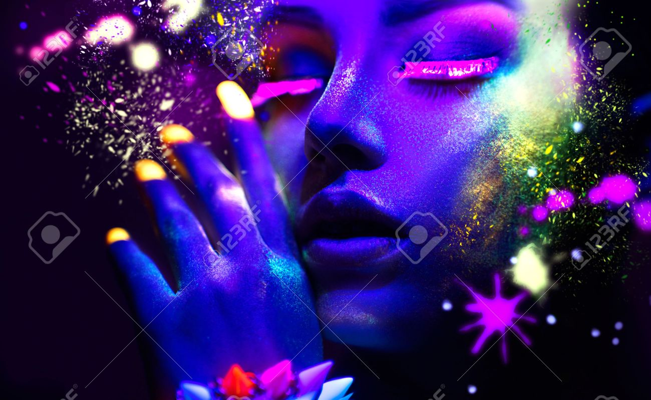 Fashion woman in neon light, portrait of beauty model with fluorescent makeup - 56596771