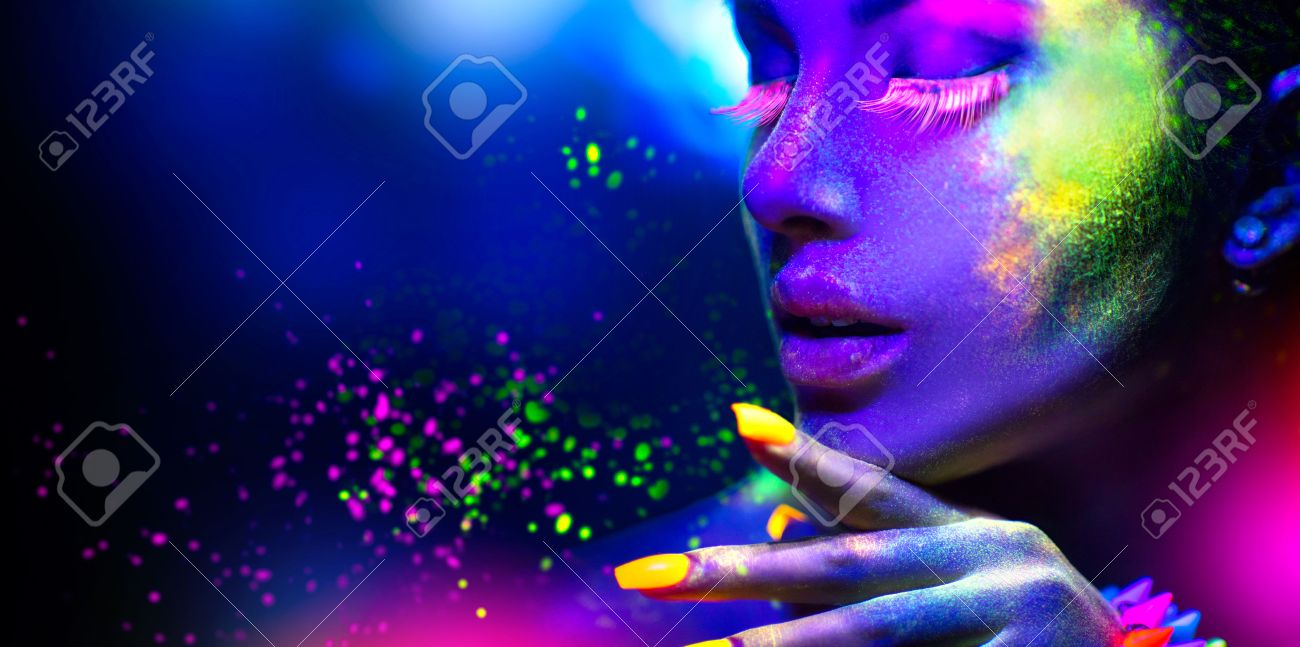 Fashion woman in neon light, portrait of beauty model with fluorescent makeup - 56596772