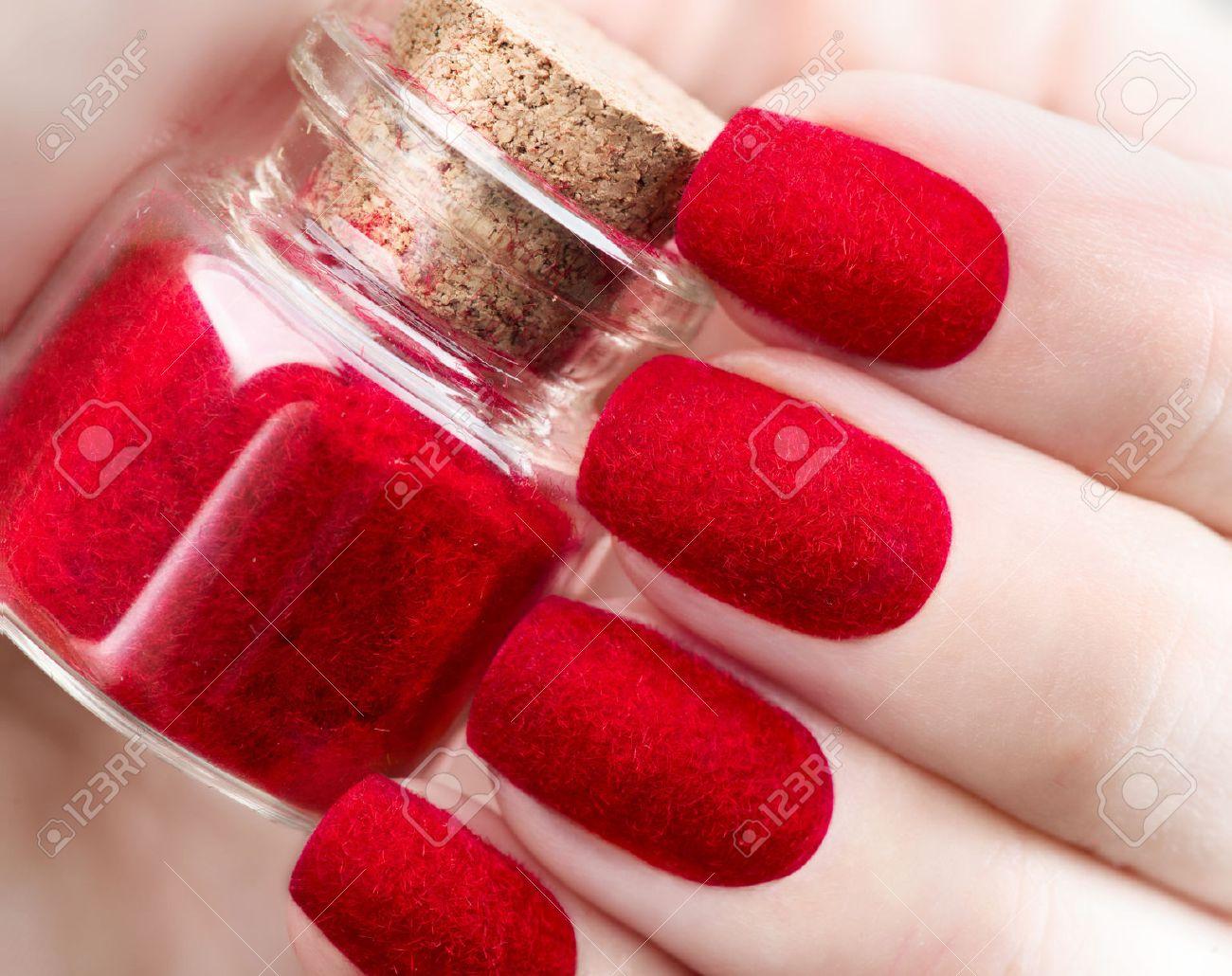 Velvet Nails. Fashion Trendy Red Fluffy Nailart Design Closeup Stock ...