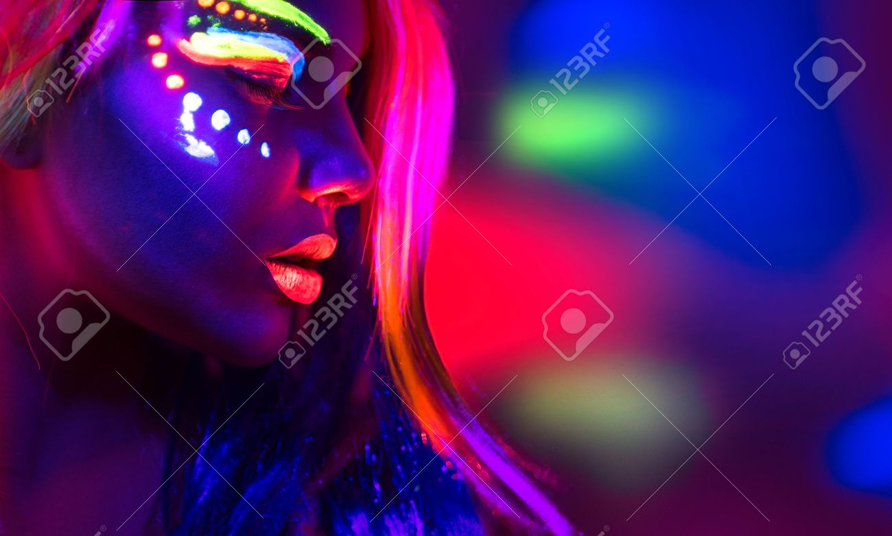 Fashion model woman in neon light, portrait of beautiful model girl with fluorescent make-up - 58218978