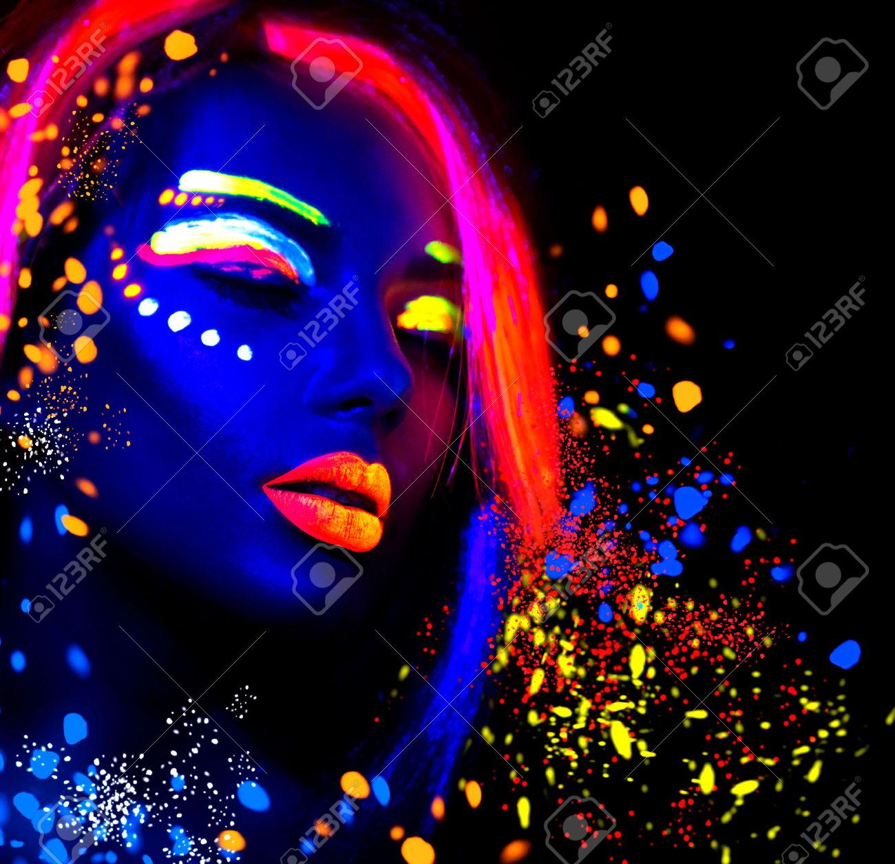 Fashion model woman in neon light, portrait of beautiful model girl with fluorescent make-up - 58218988