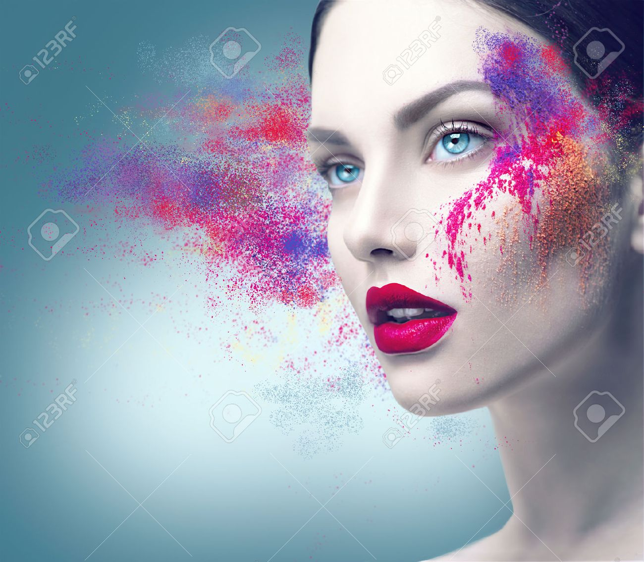 Fashion model girl portrait with colorful powder makeup - 63997788