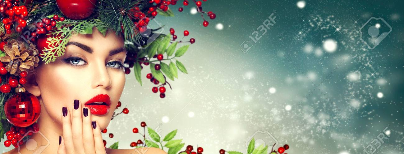 maquillage femme Noël. mode Winter girl Banque d'images - 65640844