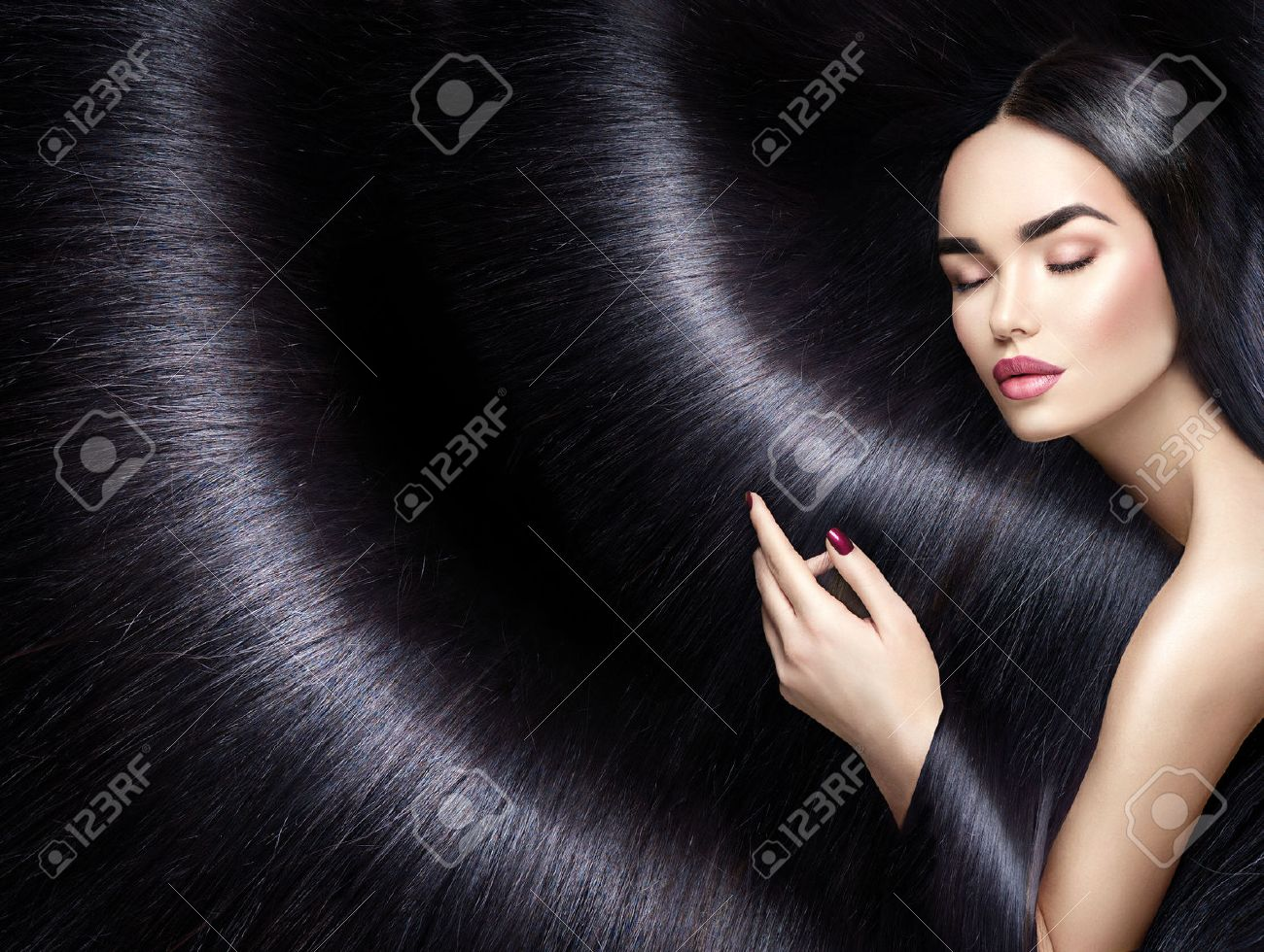 Long Hair Background Beauty Brunette Woman With Straight Black
