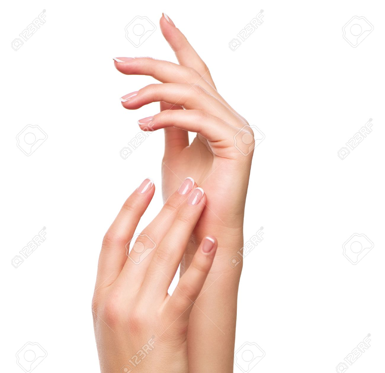Beautiful woman hands. Spa and manicure concept. Female hands with french manicure Banque d'images - 66463141