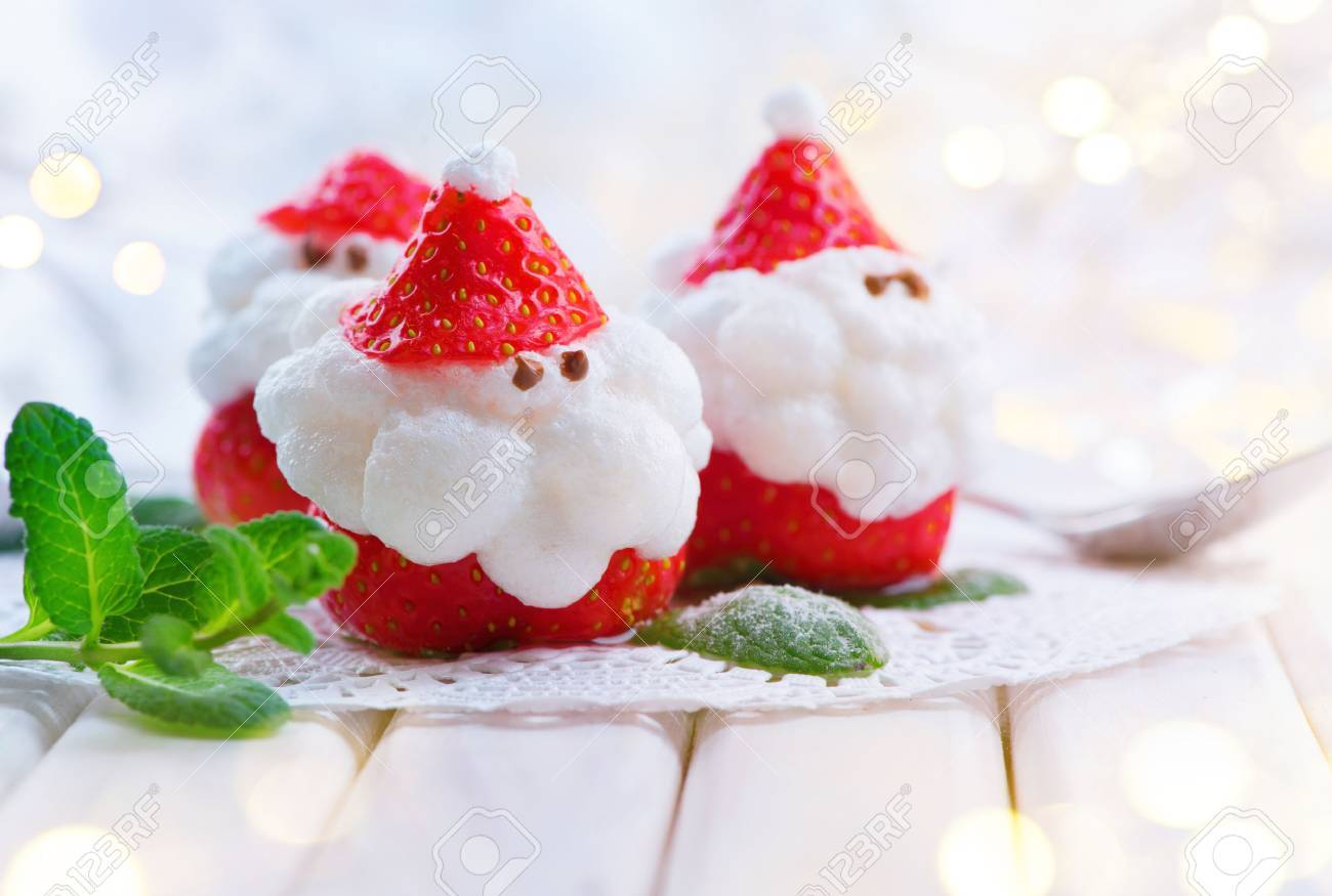Christmas Strawberry Santa. Funny Dessert Stuffed With Whipped ...