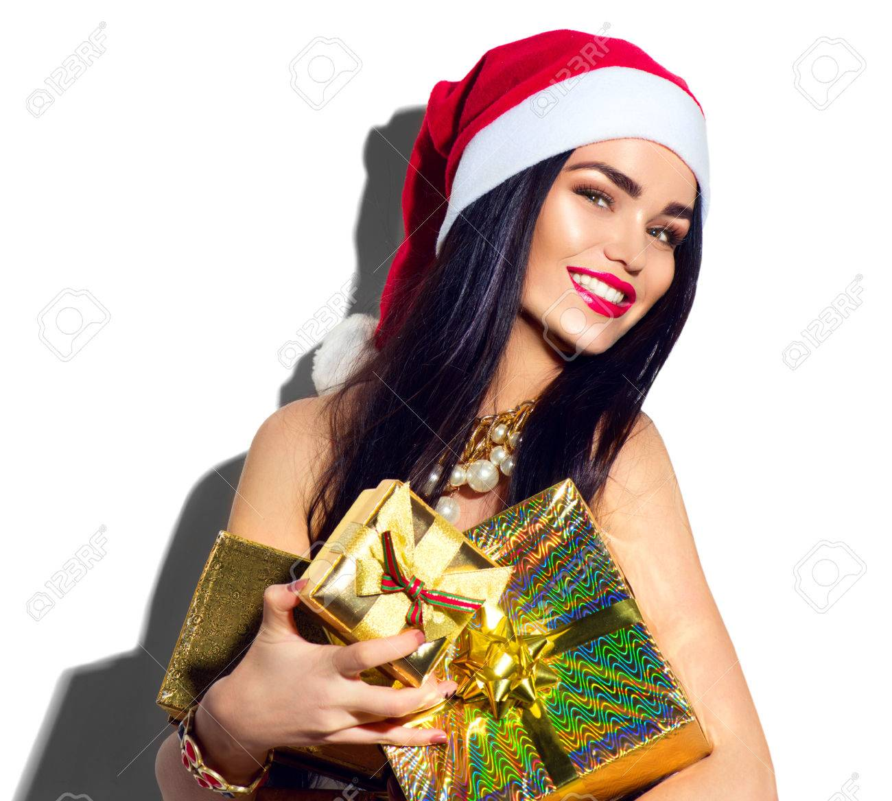 Christmas Fashion Model Girl Sexy Santa Holding Gifts Stock Photo Picture And Royalty Free Image Image 67522009
