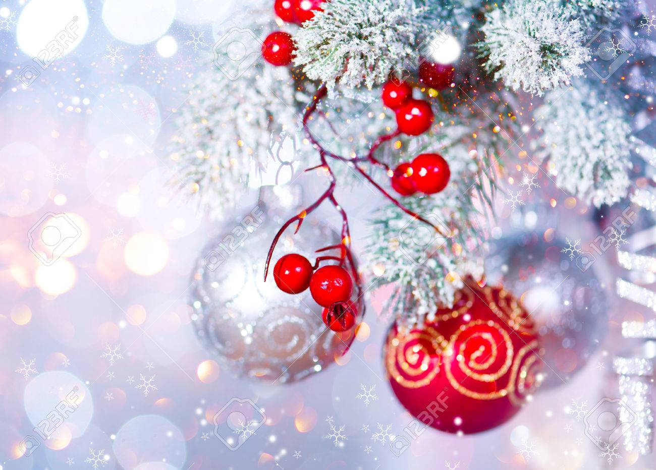 Christmas Holiday Abstract Silver Background. Hanging Baubles On Christmas  Tree Stock Photo   67698773