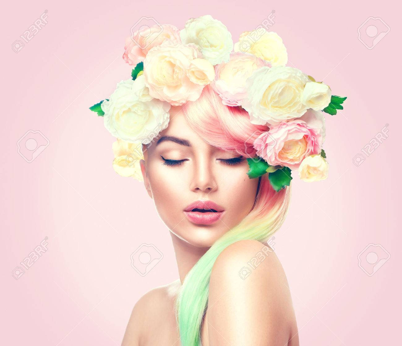 Beauty summer model girl with colorful flowers wreath. Flowers hair style - 74044904