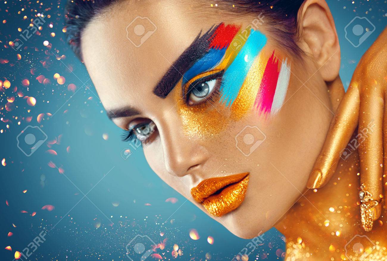 Beauty fashion art portrait of beautiful woman with colorful abstract makeup - 74168223