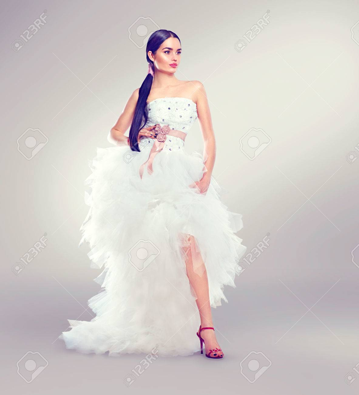 Beauty Fashion Young Model Bride In Wedding Dress With Long Train ...