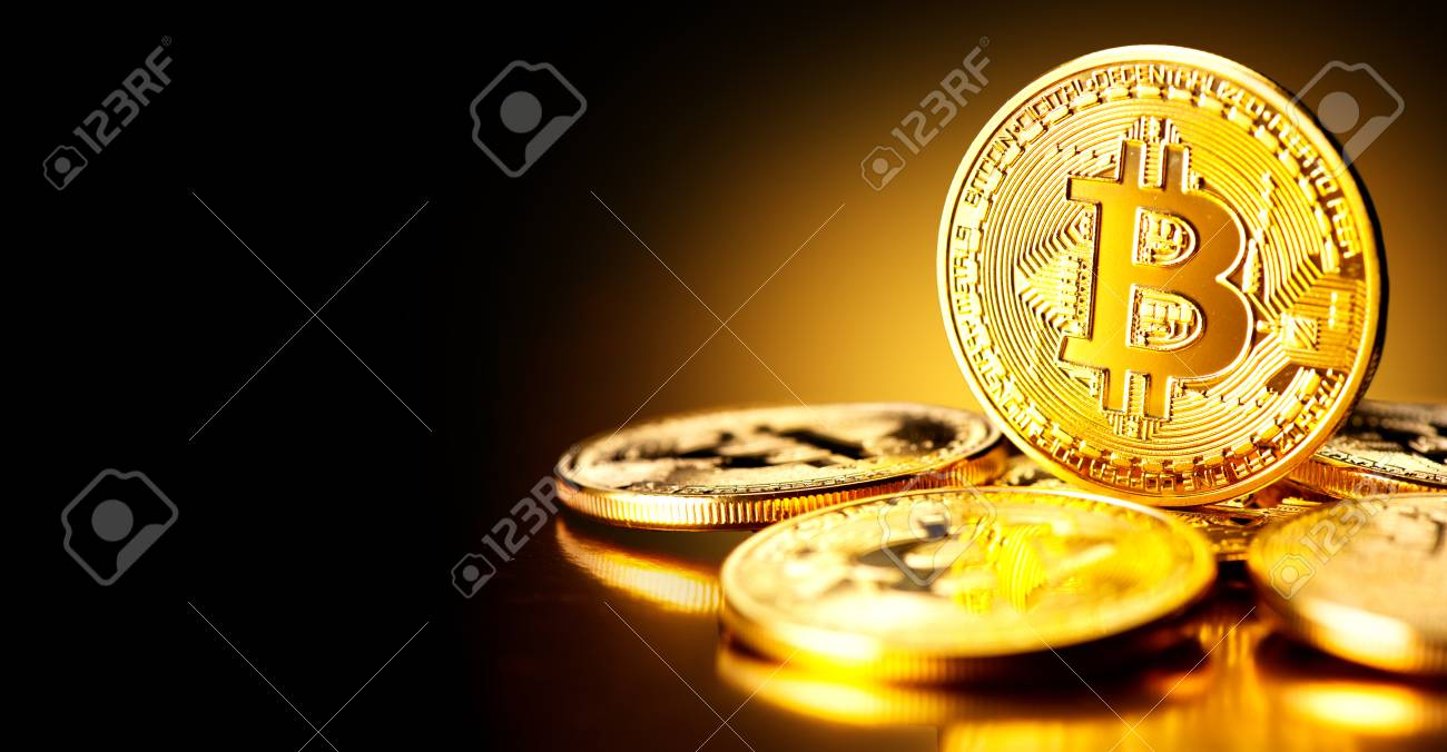 Bitcoin crypto currency. BTC coins. Blockchain technology, Bitcoin mining concept - 91697133