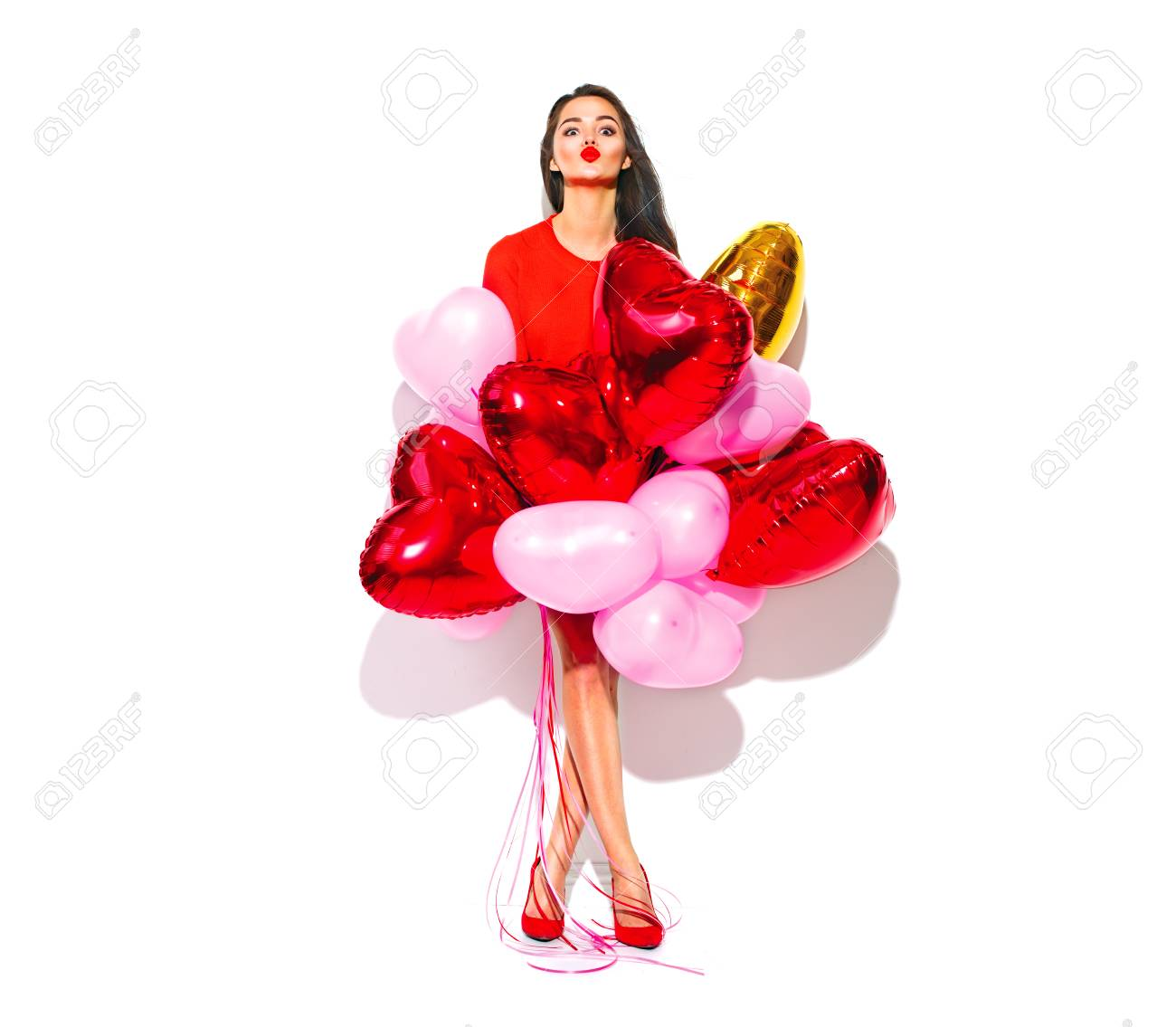 Valentine's Day. Joyful beauty girl with colorful air balloons having fun, isolated on white background. Full length portrait - 93531899