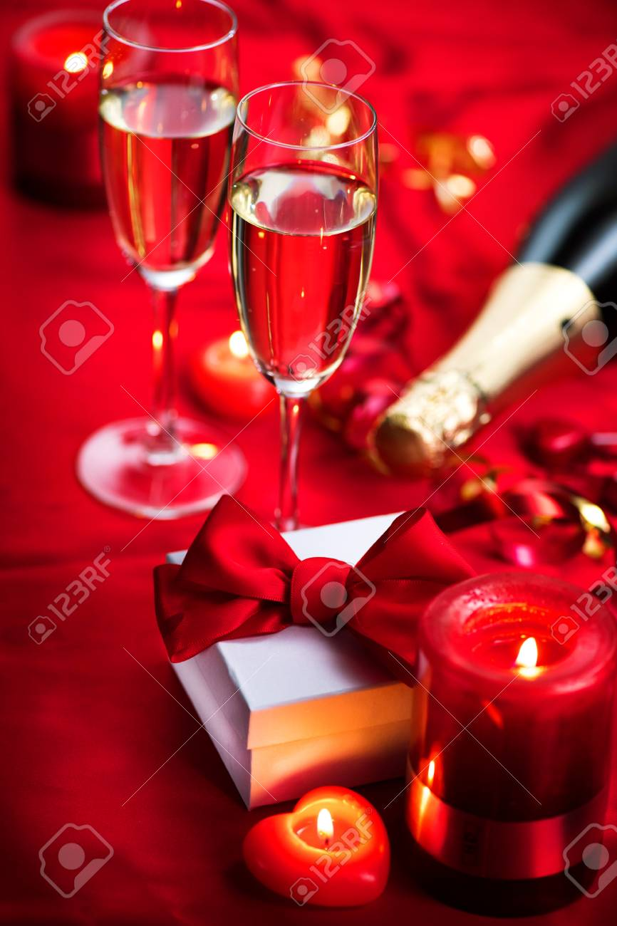 Valentine S Day Romantic Dinner Champagne Candles And Gift Stock