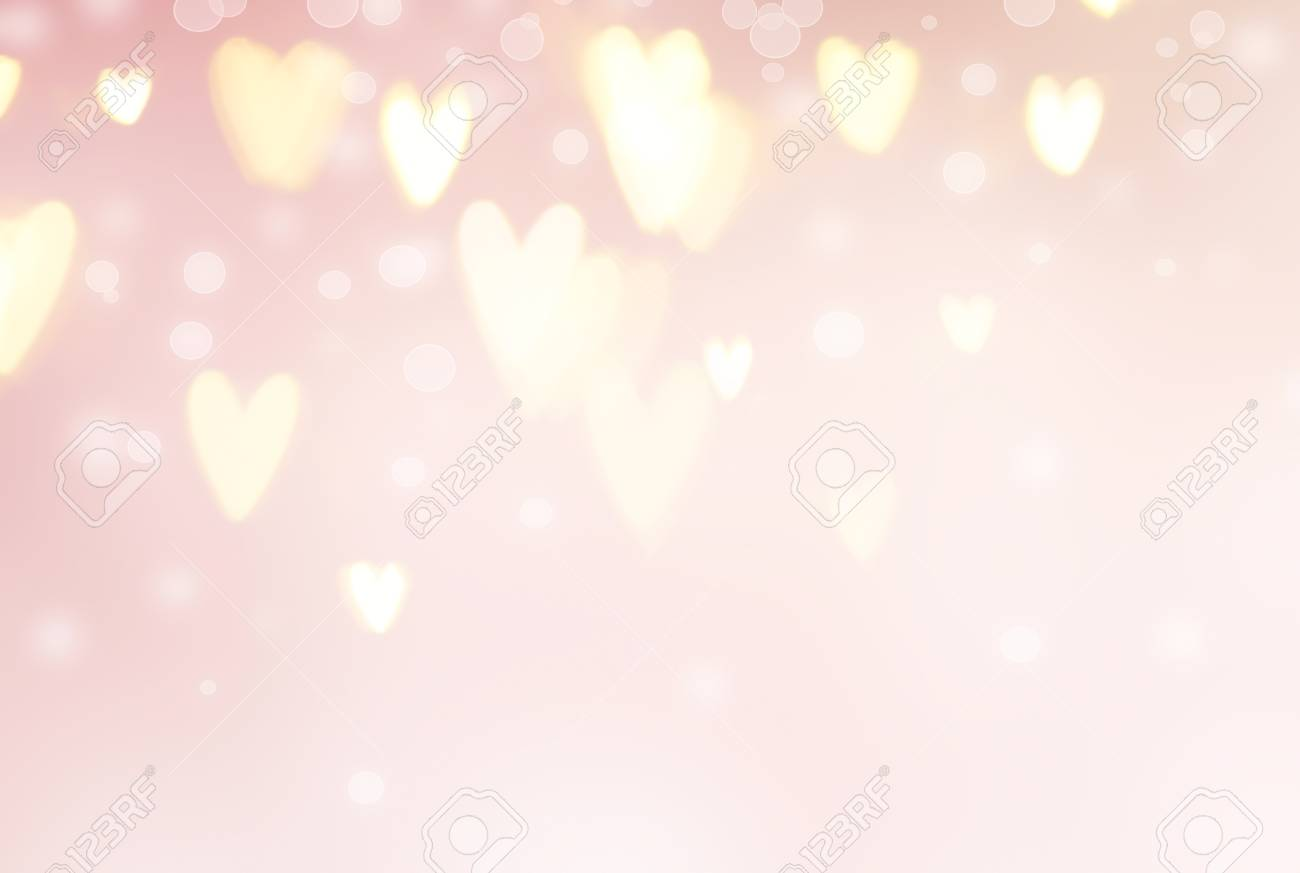 Valentine's Day background. Abstract glowing hearts on pink holiday backdrop - 95303466