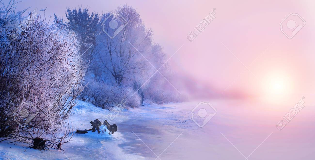 Beautiful winter landscape scene background with snow covered trees and iced river. Beauty sunny winter backdrop. Wonderland. Frosty trees in snowy forest - 109483590
