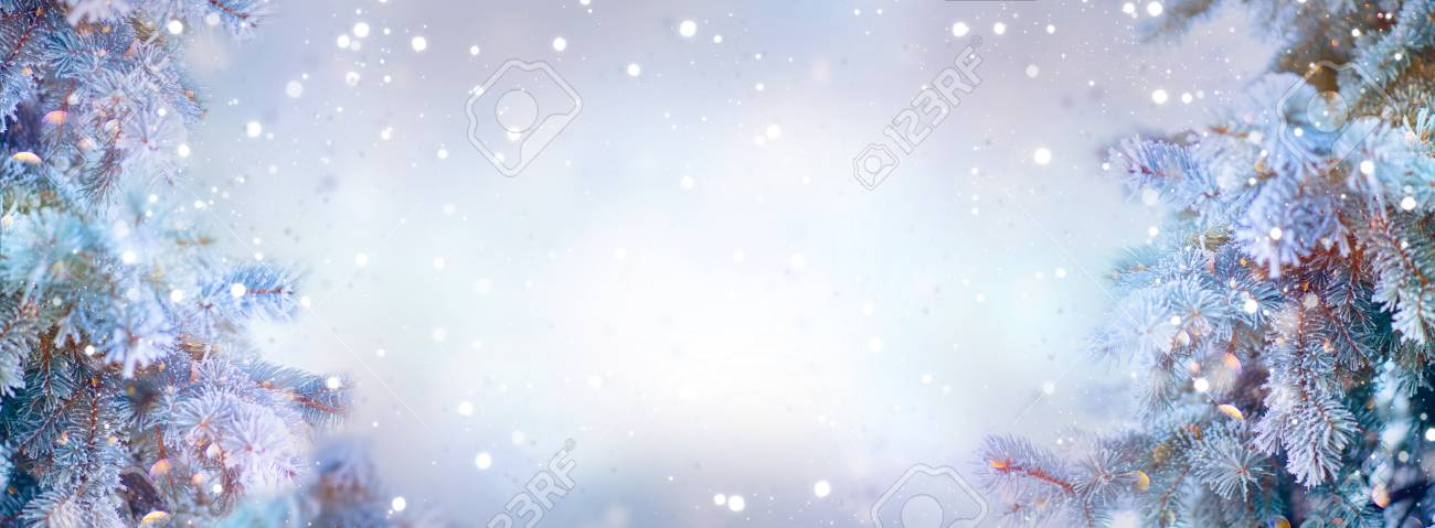 Christmas holiday trees. Border snow background. Snowflakes