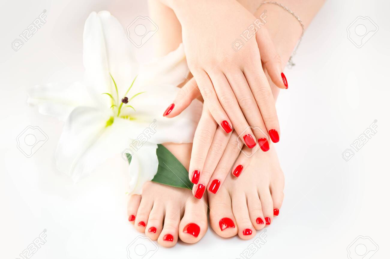 Manicure and pedicure in spa salon. Skincare concept. Healthy female hands and legs with beautiful nails - 125524121