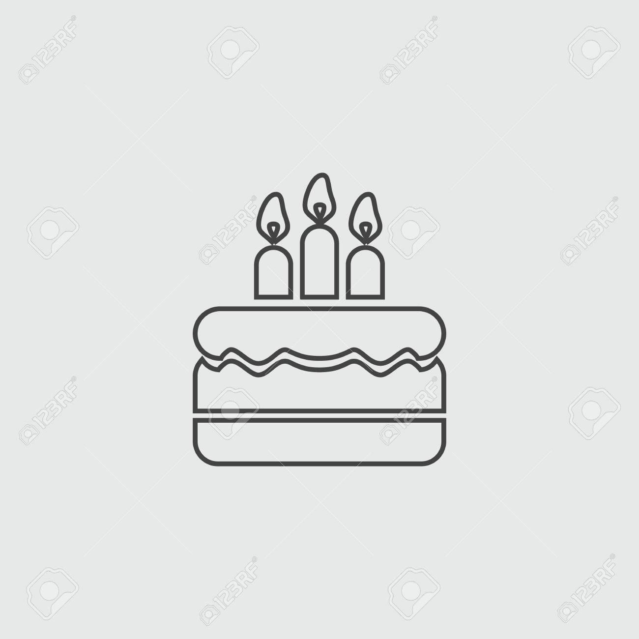 Birthday Cake Vector Sign Flat Illustration Icon Royalty Free