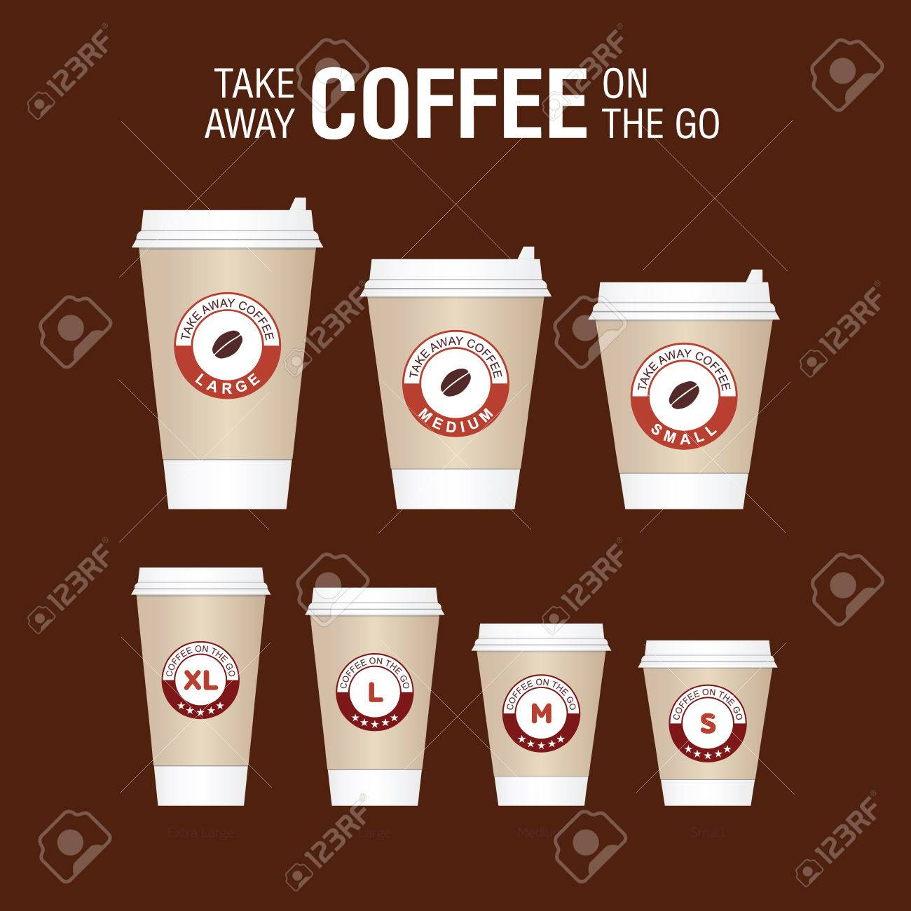 Coffee On The Go Cups Different Sizes Of Take Away Paper Coffee