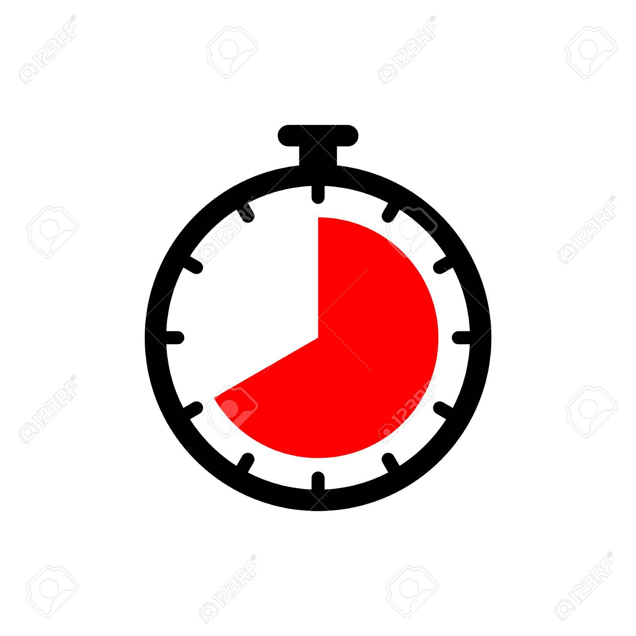 timer clock icon ui simple style flat illustration royalty free