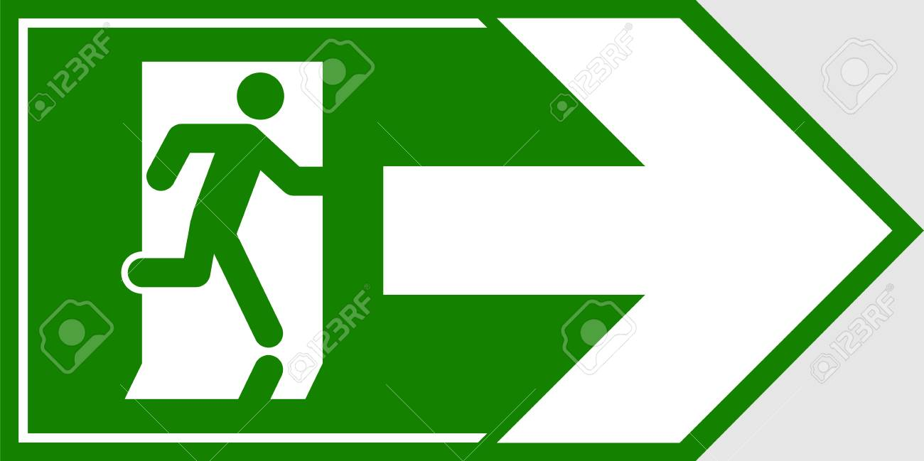 emergency exit sign man running out fire exit royalty free