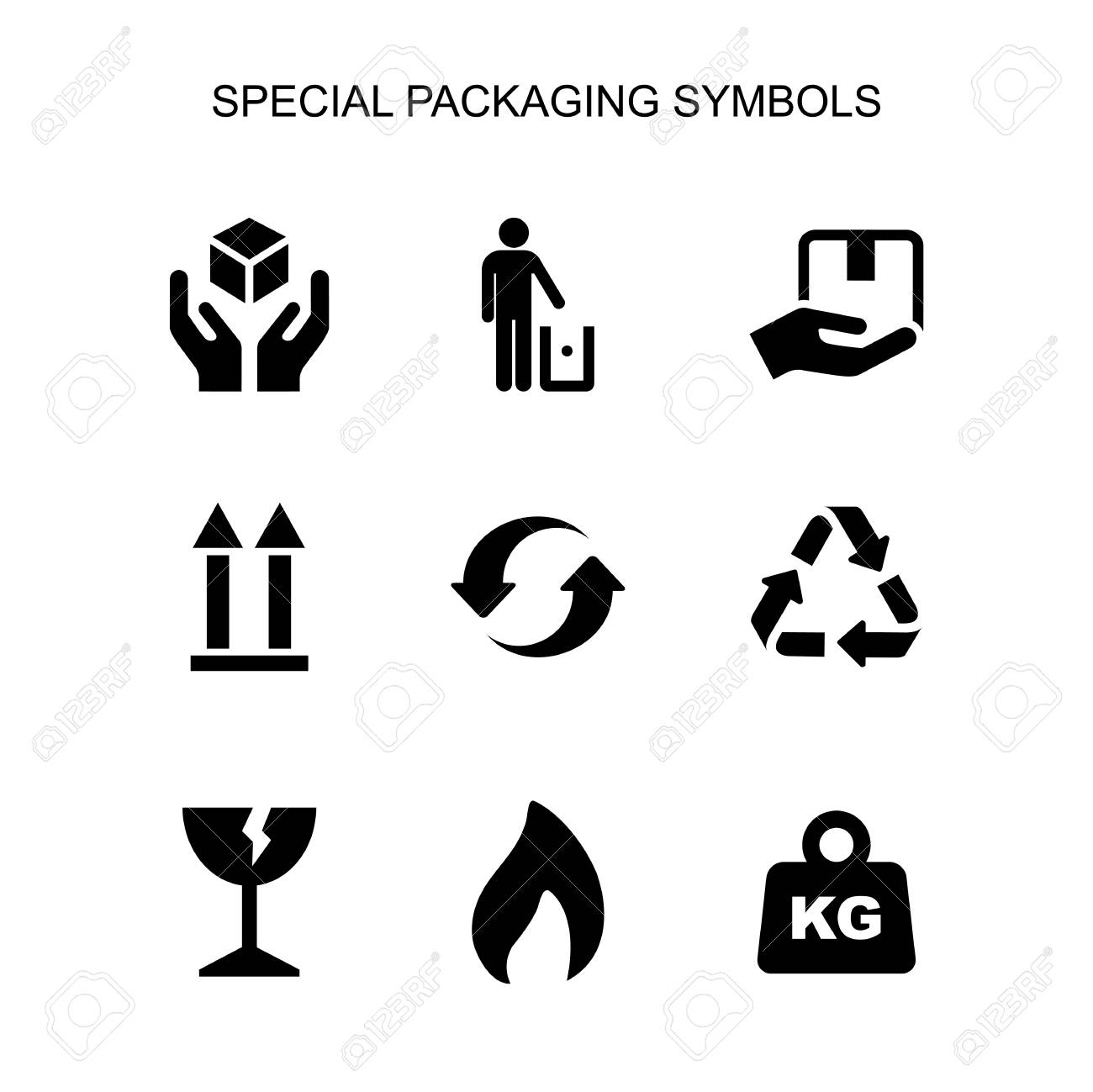 Packaging symbols set simple flat style icon isolated. - 120691942