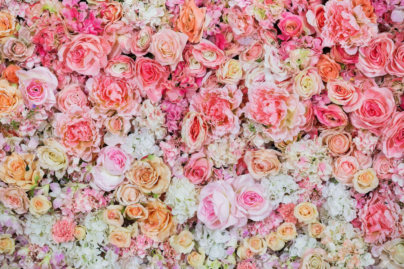 Beautiful Flowers Background For Wedding Scene Stock Photo Picture