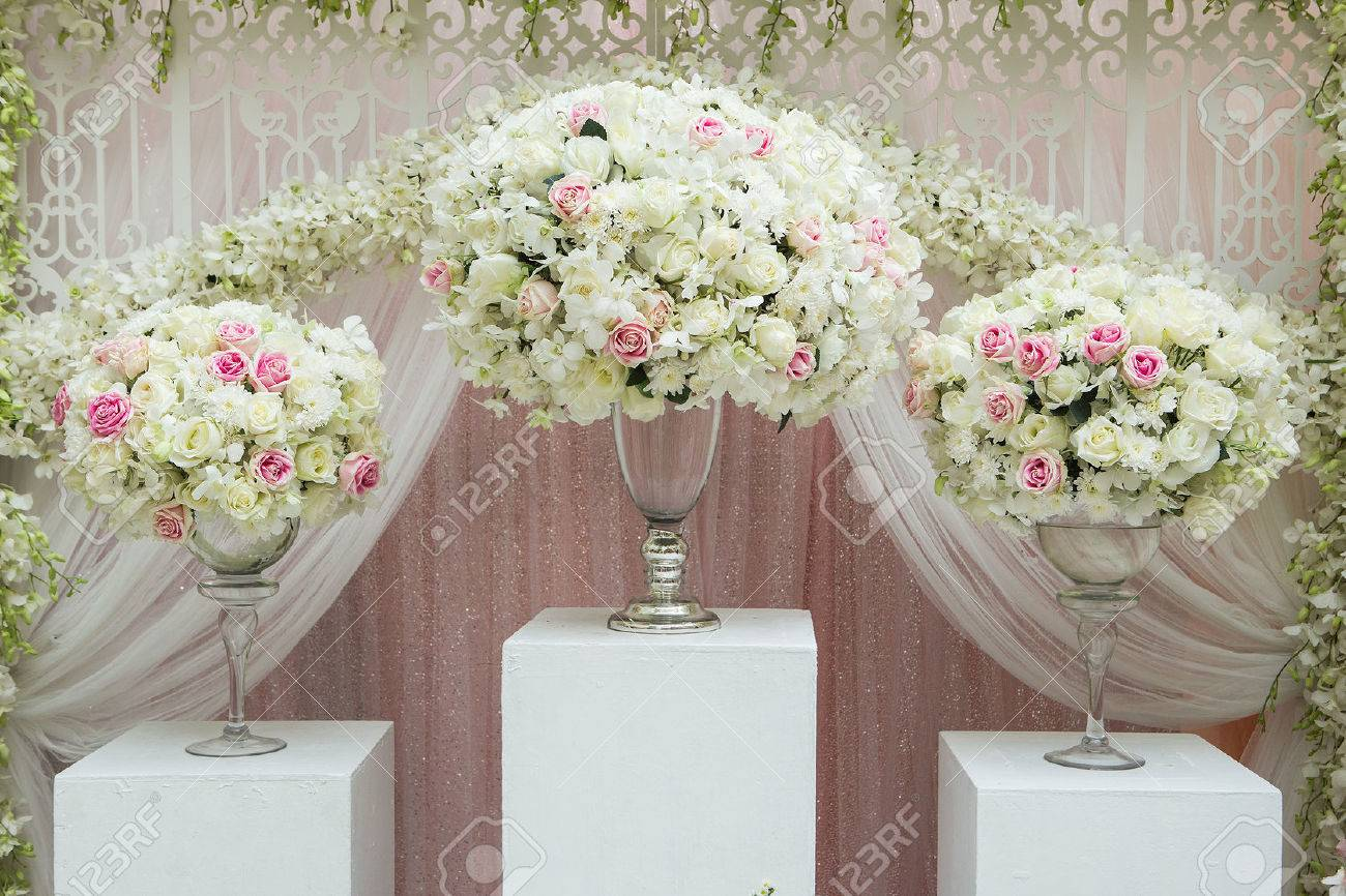 Flower Arrangement In Silver Bowl With Pink And White Roses Stock