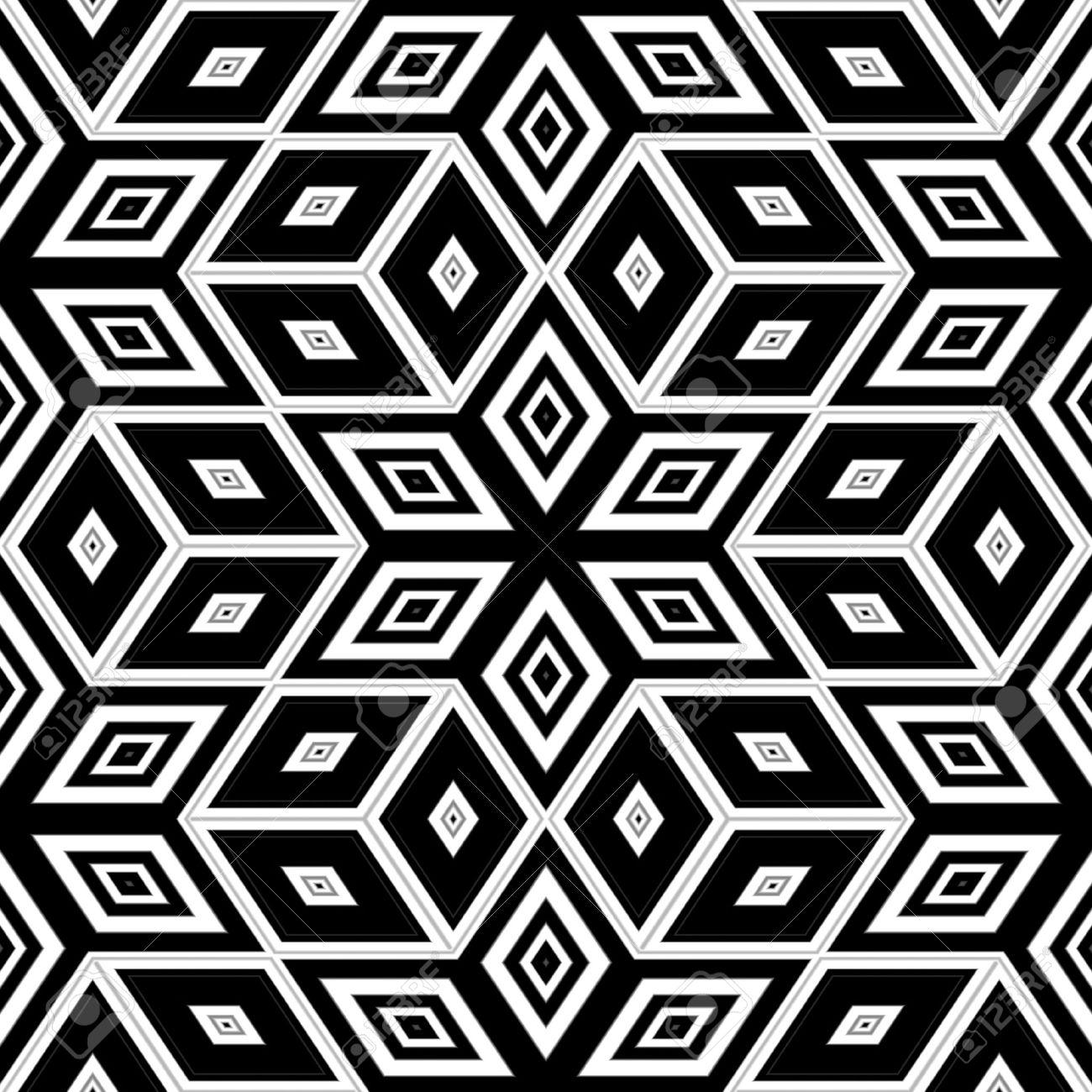 黒と白のシームレスな背景 エッシャーのスタイル の写真素材 画像素材 Image