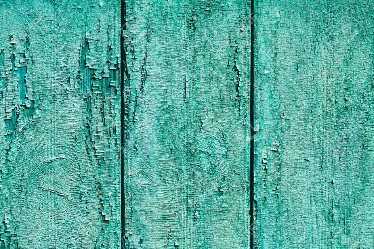 Ancient Vintage Wooden Texture A Painted Green Blue Wall Cracked Paint Grunge