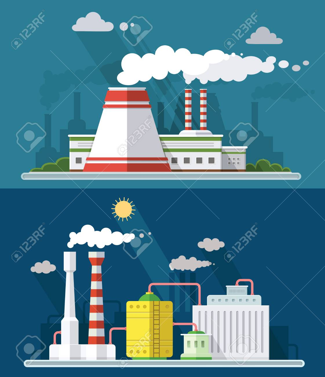 Set vector blue factory pollution icons drawn simple line art info graphic, presentation with Nuclear Power Plant, smoke, environment and energy elements around promo template, flat style illustration Standard-Bild - 90924333