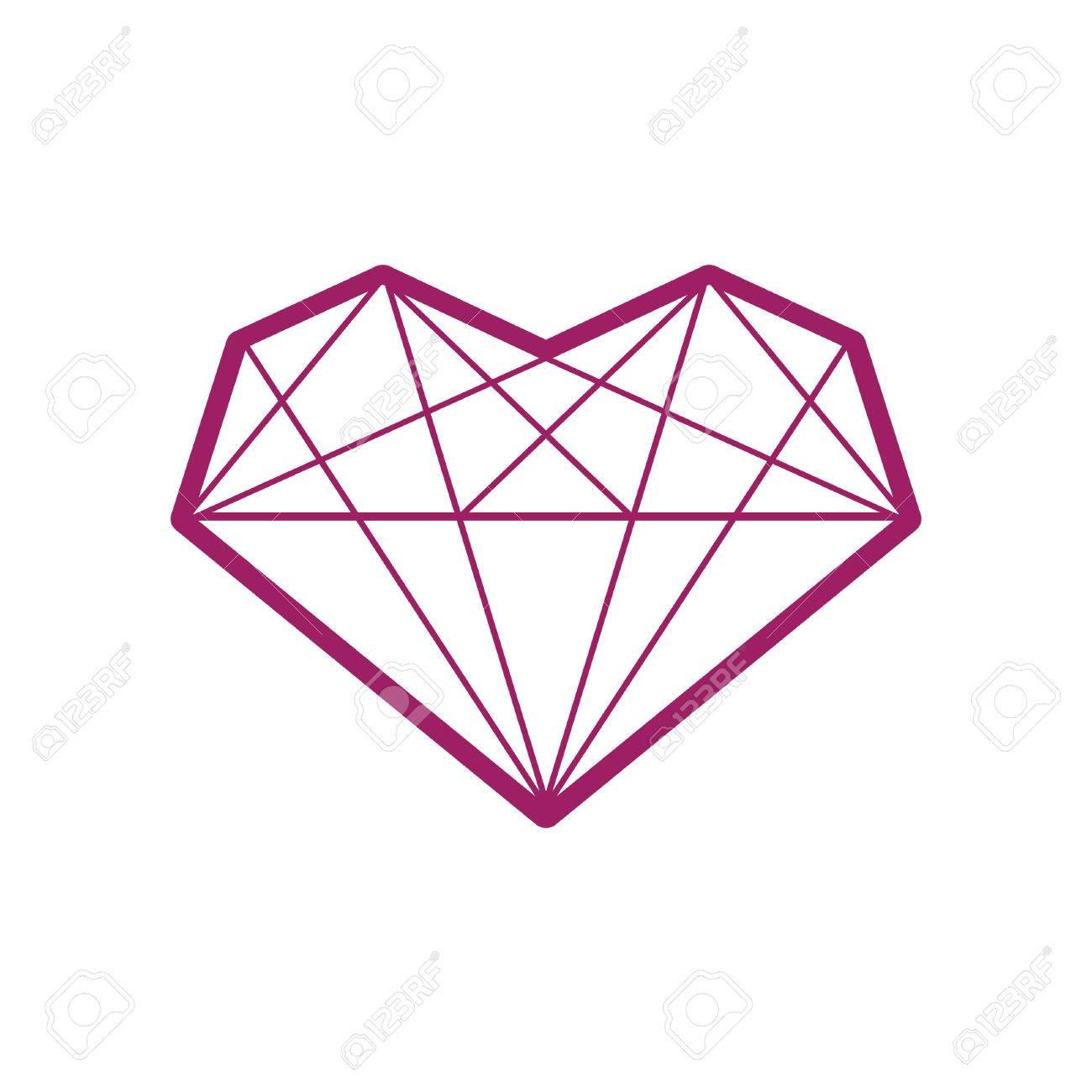 Diamond Heart Icon Diamond Heart Symbol Diamond Heart Template