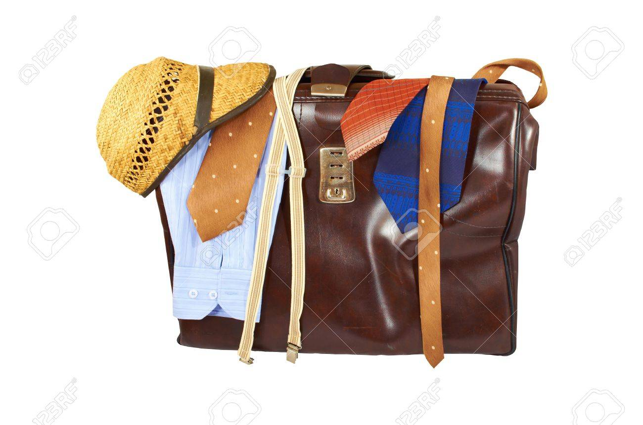 Suitcase with clothes for men isolated on white background Stock Photo - 16752596