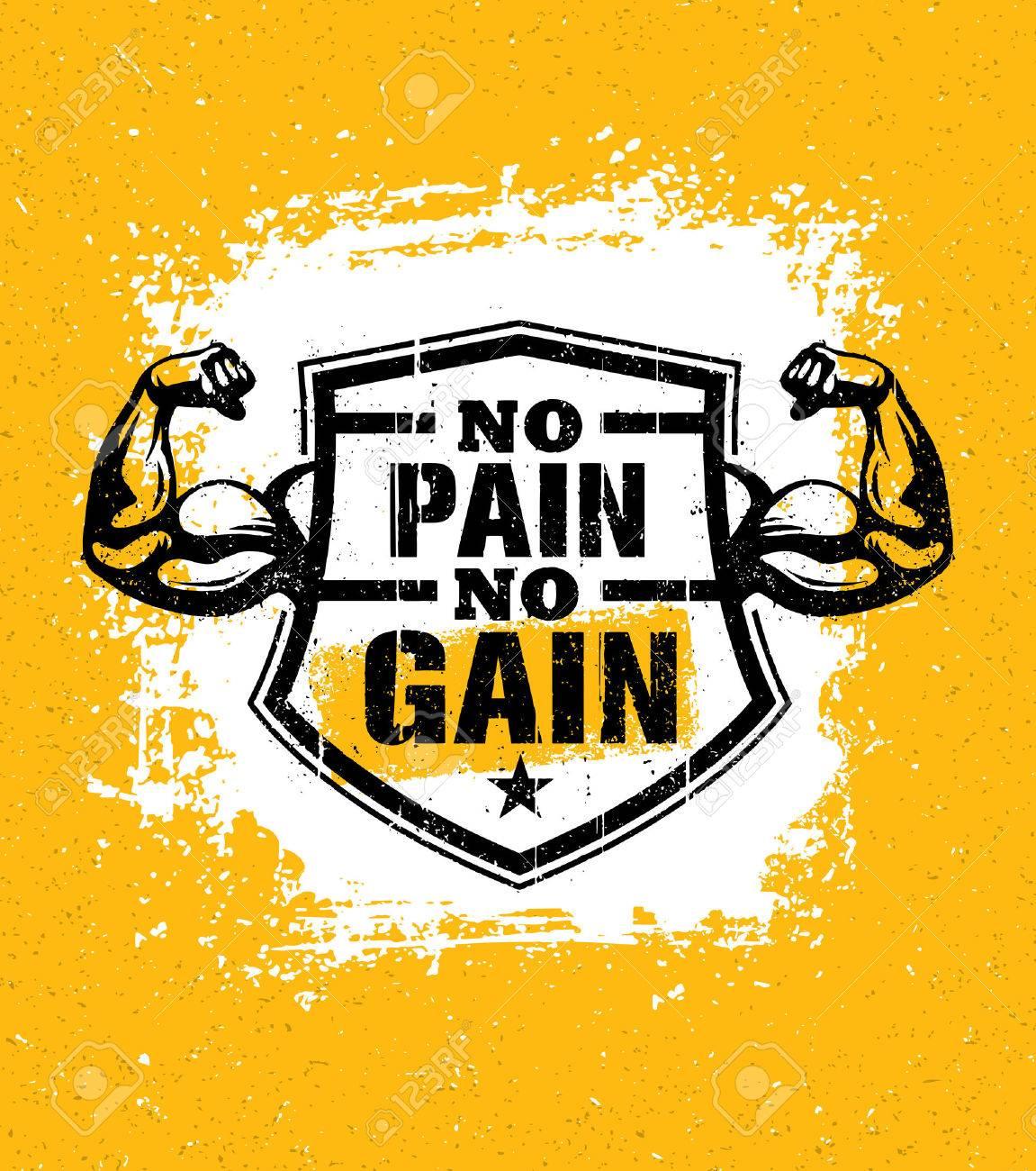No Pain No Gain Gym Workout Motivation Quote Vector Concept