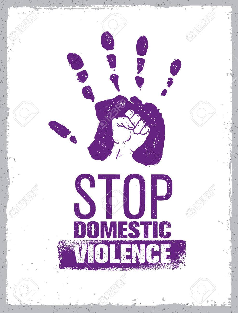Stop Domestic Violence Stamp. Creative Social Vector Design Element Concept. Hand Print With Fist Inside Grunge Icon. - 72166310