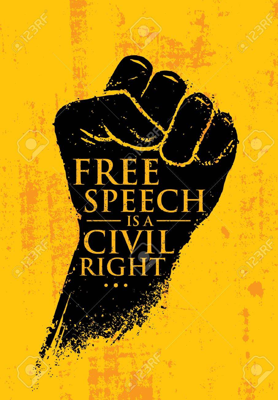Free Speech Is A Civil Right. Inspiring Creative Social Vector Typography Banner Design Concept On Grunge Wall - 72321917