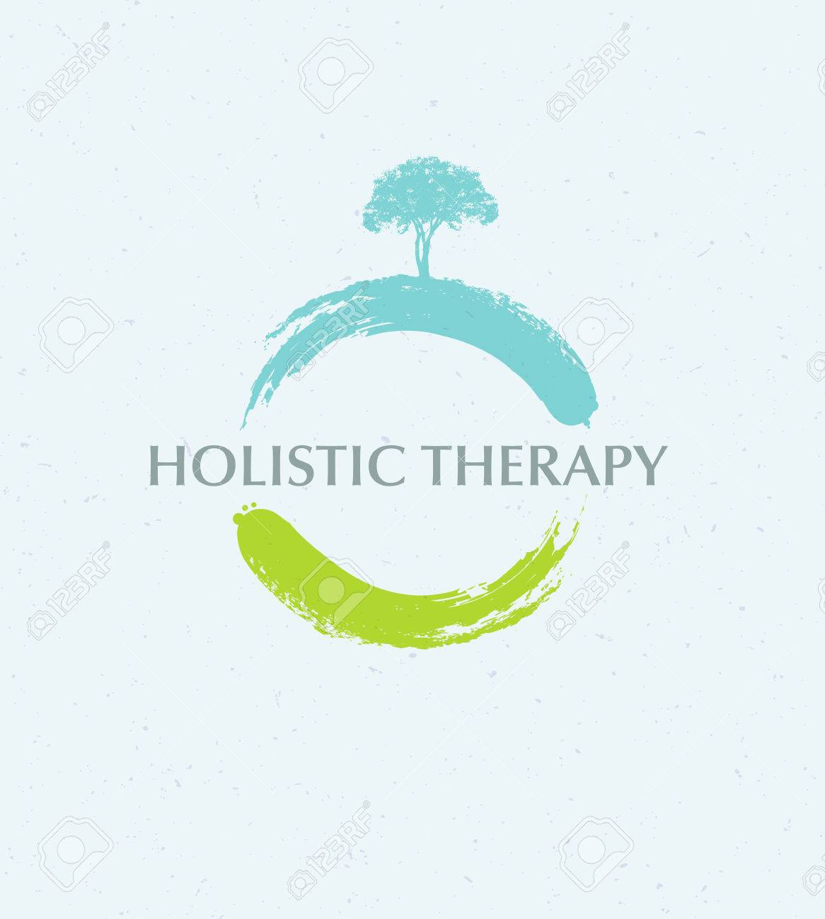 Holistic Therapy Tree With Roots On Organic Paper Background. Natural Eco Friendly Medicine Vector Concept - 72608396