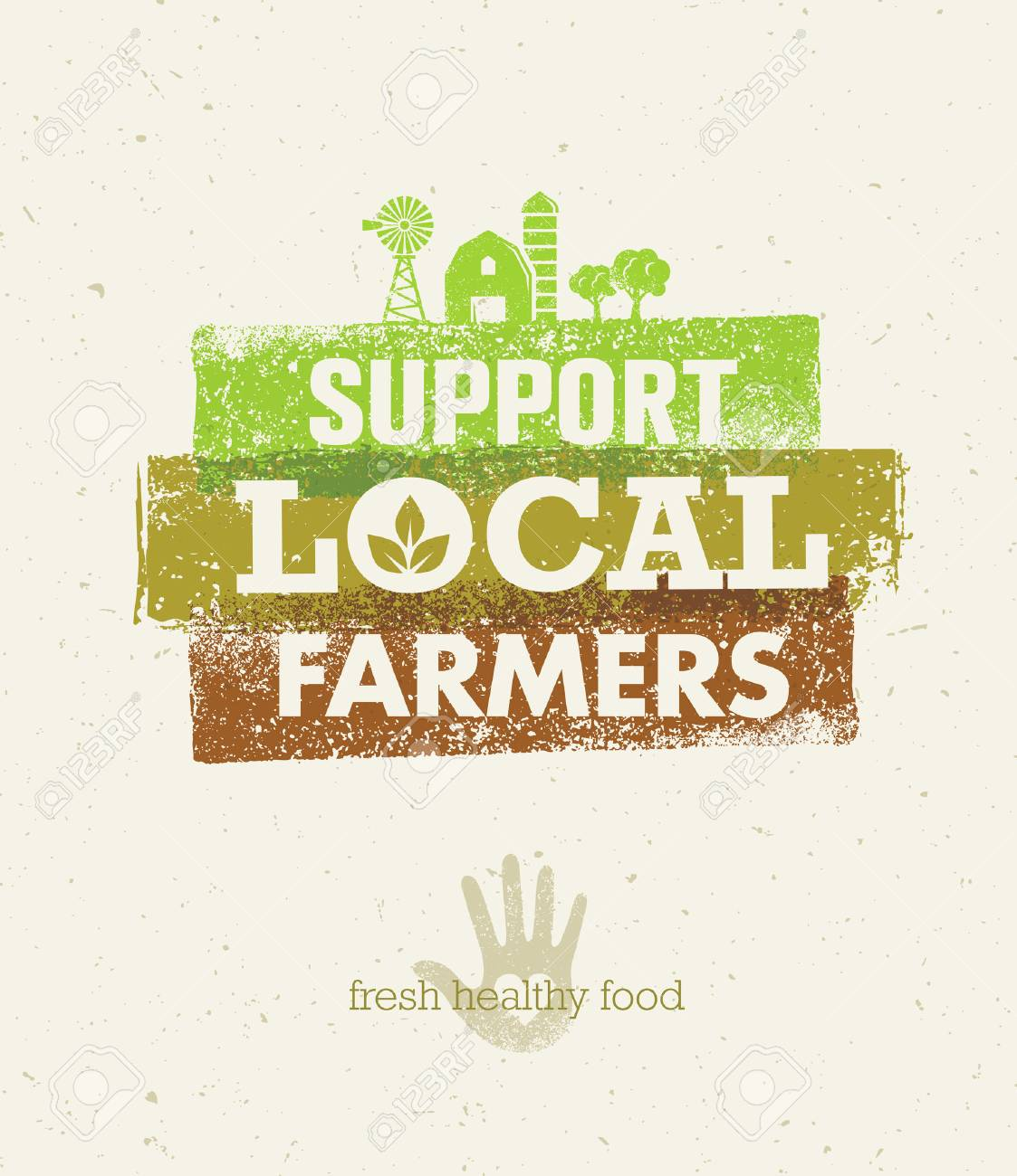 Local Food Market. From Farm To Table Creative Organic Vector Concept on Recycled Paper Background - 72877310