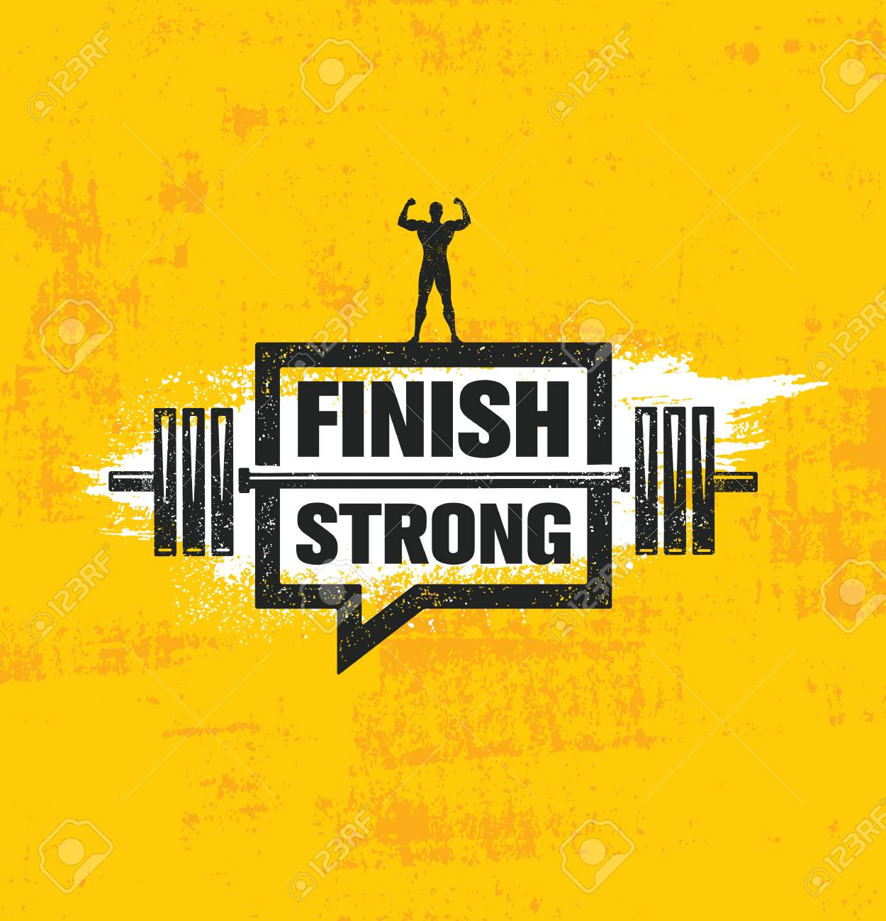 Finish Strong. Inspiring Workout and Fitness Gym Motivation Quote Illustration Sign. Creative Strong Sport Vector - 100477756
