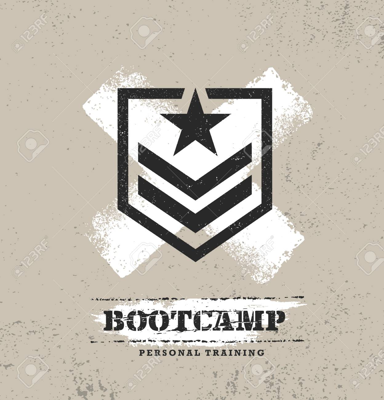 Fitness Body Training Extreme Sport Outdoor Bootcamp Rough Vector Concept. Creative Textured Design Elements On Distressed Grunge Background. - 112253844