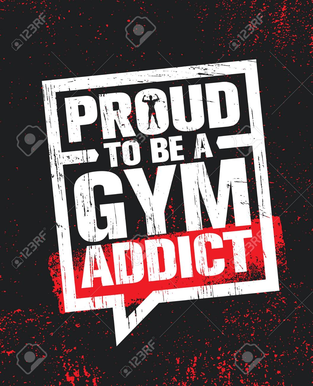 Proud To Be A Gym Addict Fitness Gym Muscle Workout Motivation Royalty Free Cliparts Vectors And Stock Illustration Image 112253863