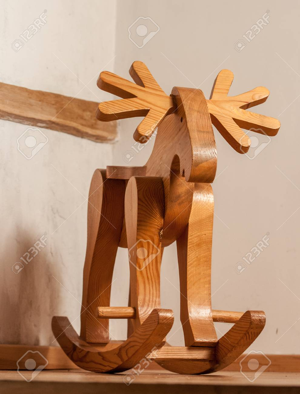 Stock Photo - Wooden deer a rocking chair toy high quality & Wooden Deer A Rocking Chair Toy High Quality Stock Photo Picture ...